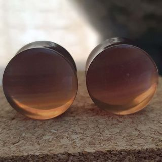 19mm Rainbow Fluorite Plugs