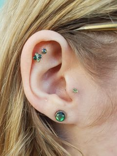 double helix, tragus & lobe