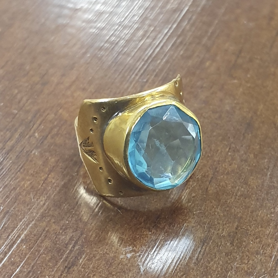 R13 - Blue Topaz Rivet Ladder Ring