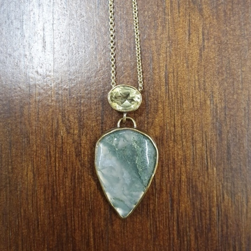 N1 - Moss Agate + Citrine Teardrop Necklace