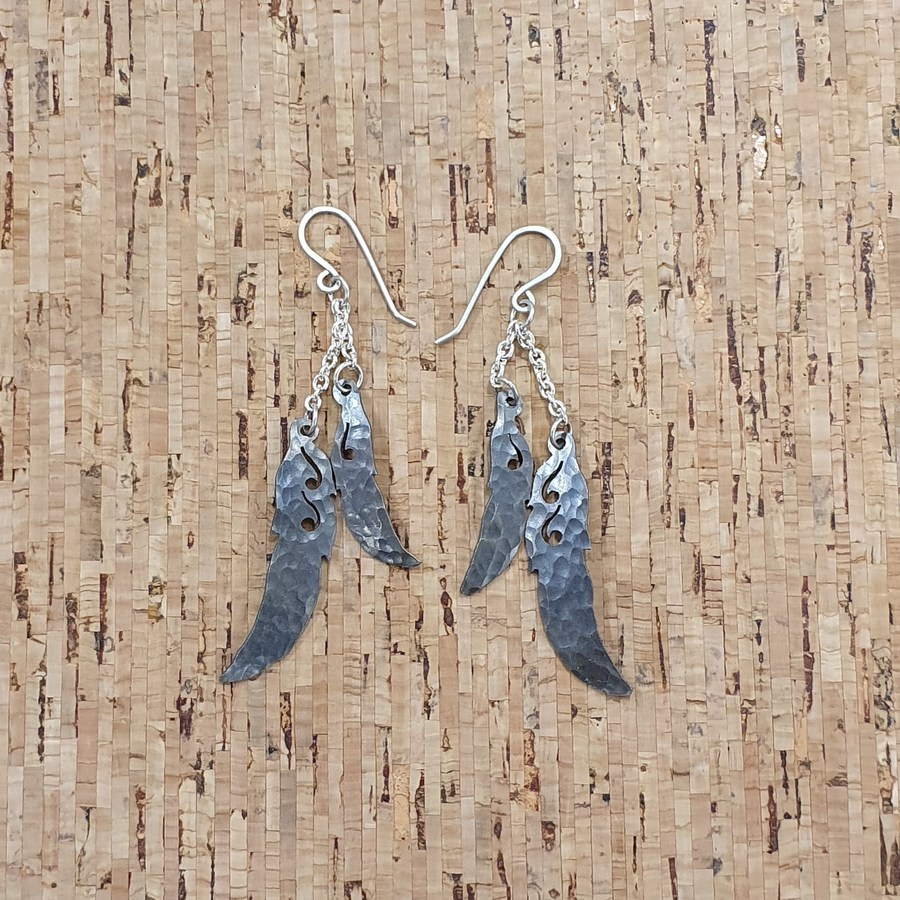 Double Chain Feather Earrings